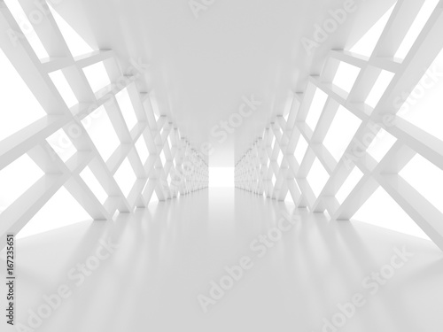 Futuristic white tunnel
