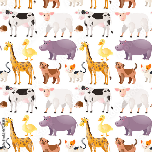 Seamless background with cute animals #167238283