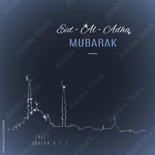 Arabic islamic holiday eid al adha mubarak greeting card with mosque arabic islamic holiday eid al adha mubarak greeting card with mosque silhouette on dark m4hsunfo