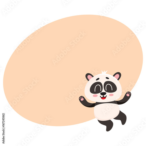 Poster Retro sign Cute and funny smiling baby panda character jumping from happiness, cartoon vector illustration with space for text. Happy little panda bear character, mascot jumping excitedly