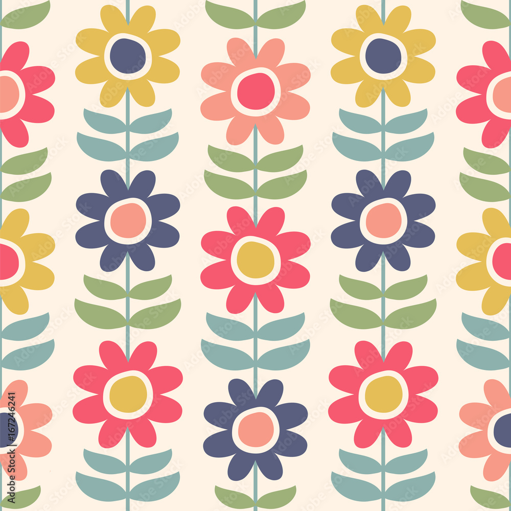 Seamless vector pattern with scandinavian flowers.