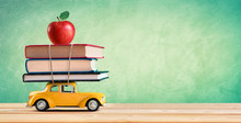 Back To School Concept - Shopping Books And Apple