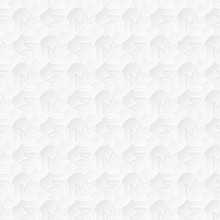 Neutral White Textured Background With 3d Effect. Vector Seamless Repeating Pattern Of Stylized Leaves.