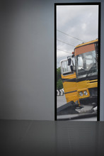 White Walls Look Out The Door. See Yellow Bus Accident And Left Bank And Empty Space For Text Or Foreground With Clipping Path - School Bus