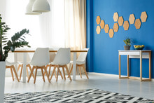 Room With Blue Wall Accent