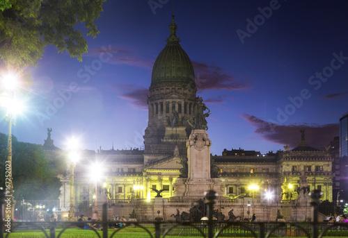 Papiers peints Amérique du Sud Evening view of building of National Congress of Argentina