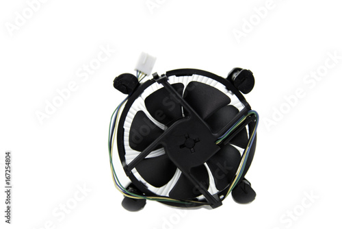 Cooling fan and Heatsink Aluminium isolated on a white