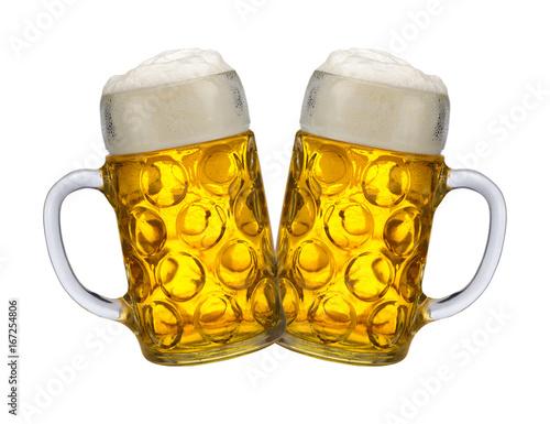 Photo Stands Beer / Cider Zwei Bierkrüge auf dem Oktoberfest in München