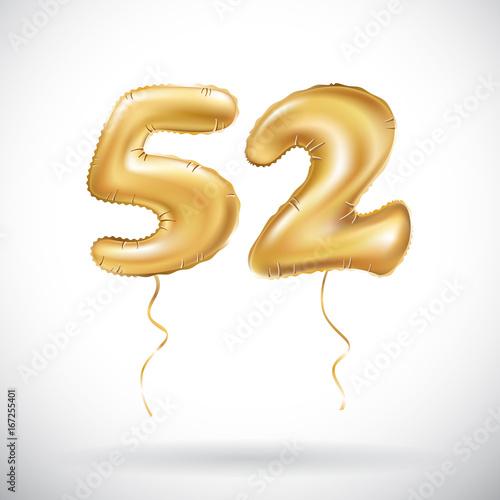 Fotografía vector Golden number 52 fifty two metallic balloon