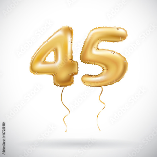 Vector Golden Number 45 Forty Five Metallic Balloon Party Decoration Balloons Anniversary Sign