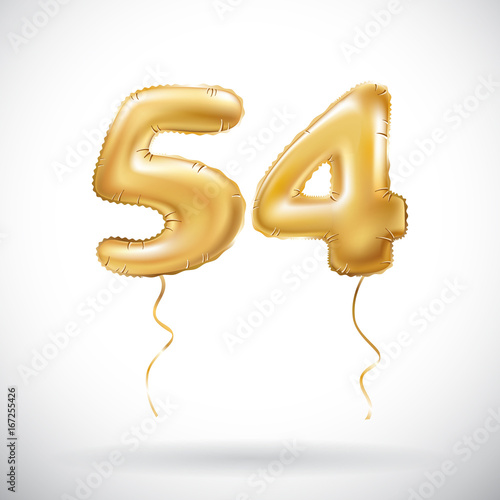 Photo vector Golden number 54 fifty four metallic balloon
