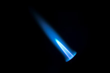 Gas Burner Flame. Blue Fire Is...