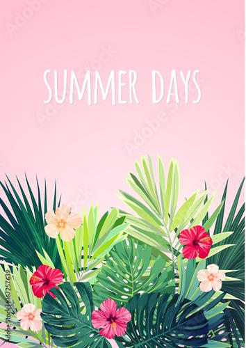 Kwiatowy pionowy projekt pocztówki z kwiatami hibiskusa, monstera i palmowymi liśćmi. Egzotyczne hawajskie tło wektor.
