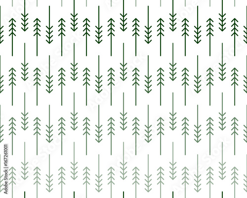 Scandinavian geometric pattern with stylized linear fir and pine trees in shades of green on white background Wallpaper Mural