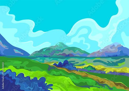 Spoed Foto op Canvas Turkoois Landscape, Vector illustration