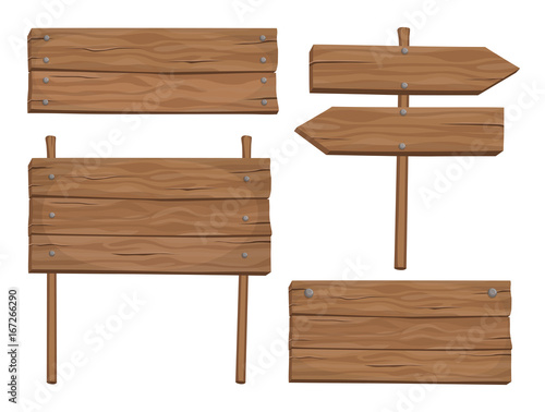 Set of vector wooden cartoon signs and banners isolated on white background Fototapete