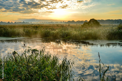 Riviere Photo with a sunny summer sunrise over the river