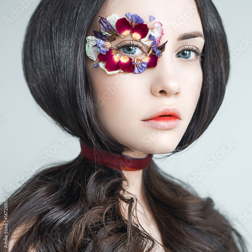 Fototapeta  Unusual makeup with flowers