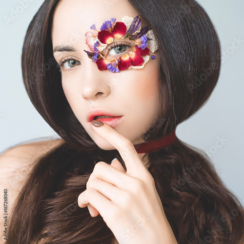 Fotografie, Obraz  Unusual makeup with flowers