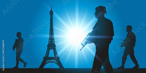 Cuadros en Lienzo Vigipirate - sécurité - attentat - terrorisme - Paris - militaire