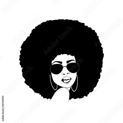 Beautiful portrait of an African American woman in vector format. Wallpaper Mural