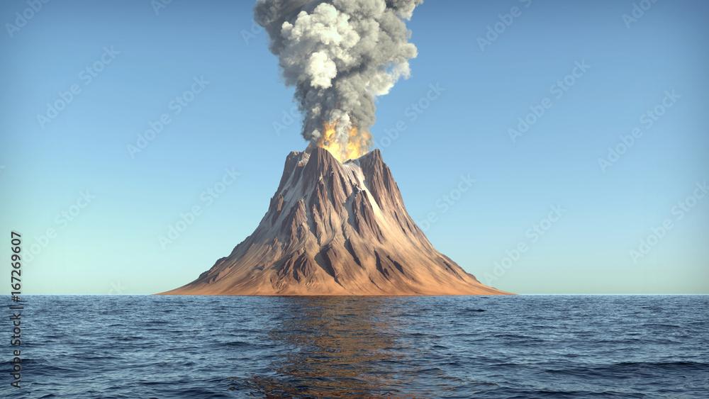 Fototapety, obrazy: Volcano eruption on an island in the ocean 3d illustration