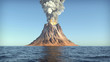 canvas print picture - Volcano eruption on an island in the ocean 3d illustration