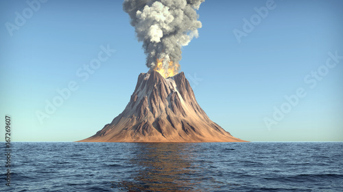 Foto Volcano eruption on an island in the ocean 3d illustration