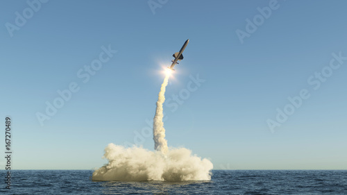 Photo  cruise missile flies up from the water 3d illustration