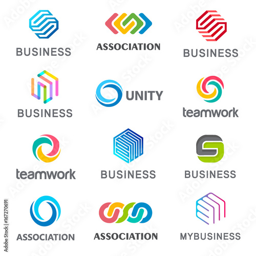 Photo  Collection of vector logos for your business