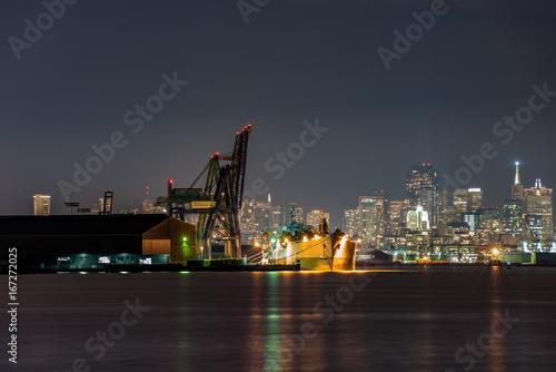 Plakat San Francisco Stocznia w nocy