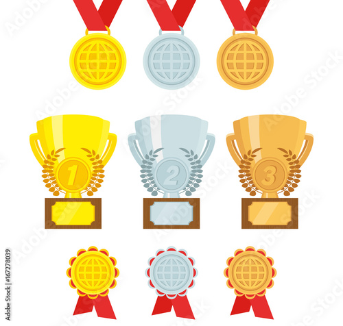 Vector set of awards  Gold, silver, bronze Trophies, medals