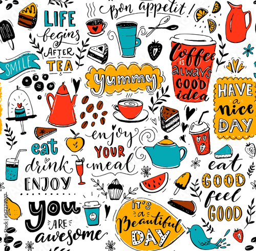 cafe-wzor-z-doodle-dzbanki-do-herbaty-kubki