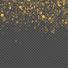 Gold Abstract Bokeh Background. Vector Transparent Light Effect.