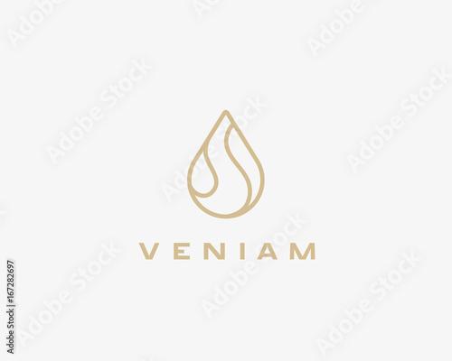 Stampa su Tela Linear water aqua logo design. Water drop vector logotype.