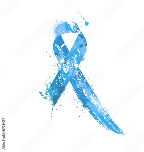 Prostate Cancer Awareness Ribbon Watercolor Blue Ribbon Prostate