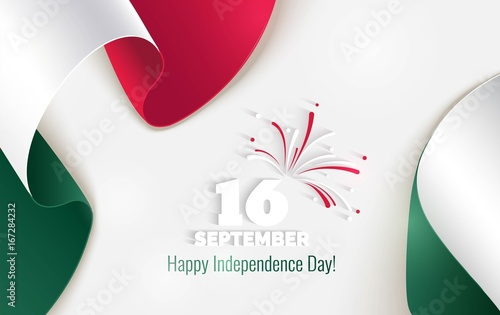 16 september mexico happy independence day greeting card waving mexico happy independence day greeting card waving mexican flags isolated on white m4hsunfo