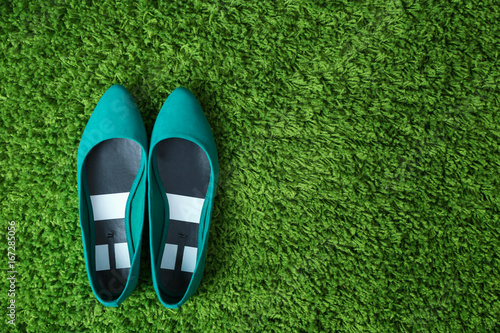 Fotografia, Obraz  Pair of shoes on green fluffy carpet