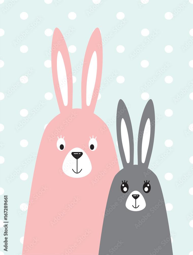rodzina królików w skandynawskim stylu