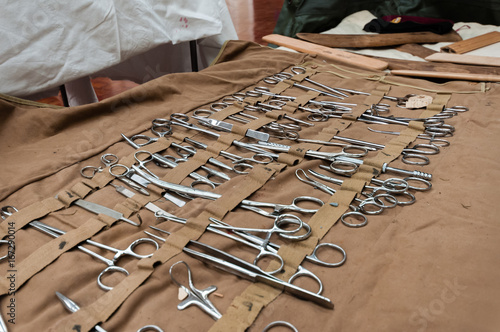 Large selection of stainless steel surgical equipment, including