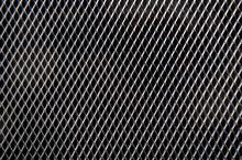 Metal Grid On Black Background