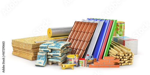Set of construction materials and tools isolated on a white background. 3d illustration - 167290663