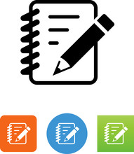 Notebook With Pencil Icon - Il...