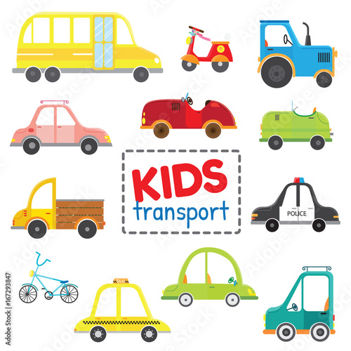 Staande foto Cartoon cars Set of kids transport.Collection cars. Vector illustration