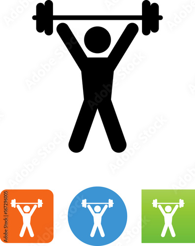 Fotografie, Obraz  Person Lifting Weights Icon - Illustration