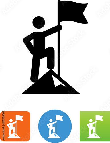 Obraz na plátne  Person On A Mountaintop Holding A Flag Icon - Illustration