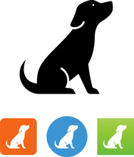 Puppy Sitting Icon - Illustrat...