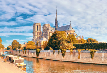 Notre Dame Cathedral in Paris on a bright day in Autumn