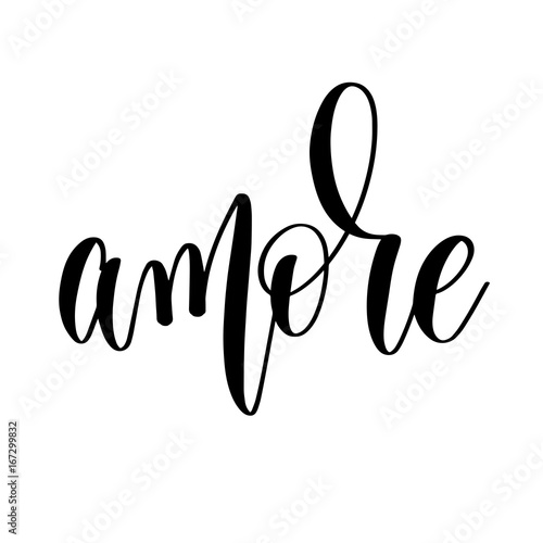 Fotobehang Positive Typography amore - black and white hand lettering inscription to wedding in