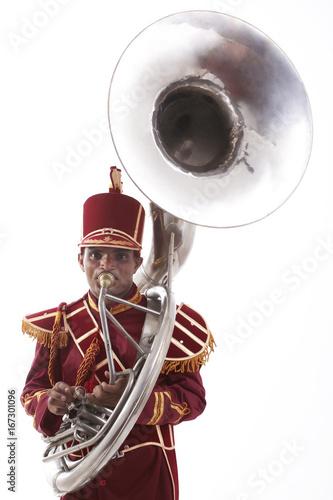Portrait of a bandmaster playing a sousaphone Canvas Print